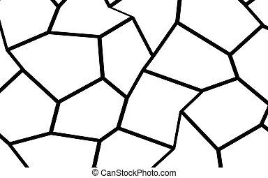 nero, irregolare, sagoma, bianco, mosaico