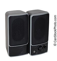 nero, isolato, bianco, sopra, speaker., due