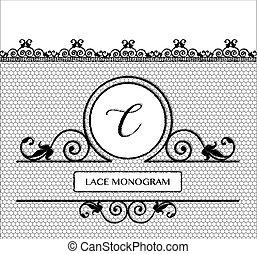 nero, laccio, monogram, c
