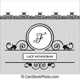 nero, laccio, monogram, f
