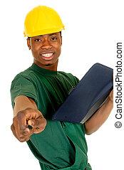 nero, lavoratore costruzione
