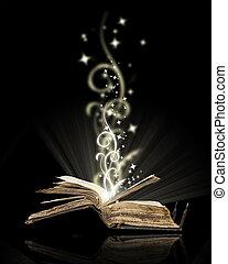 nero, libro, magia, aperto
