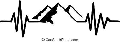 nero, linea, bianco, battito cardiaco, montagna