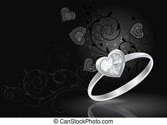 nero, lusso, fondo, anello, argento, gemma