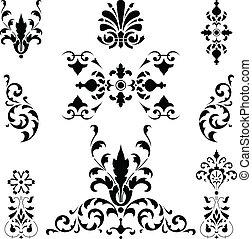 nero, medievale, ornamenti