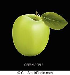 nero, mela verde, fondo