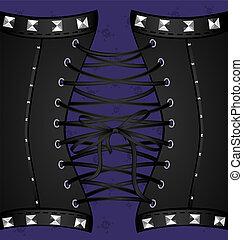 nero, metallo, fondo, corsetto