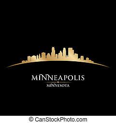 nero minnesota, fondo, orizzonte, minneapolis, città, silhouette