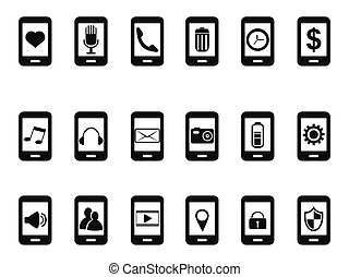 nero, mobile, icone, set