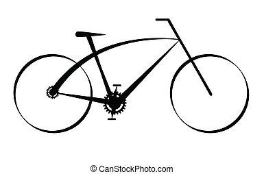 nero, moderno, bicicletta, vettore