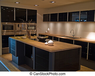 nero, moderno, legno, trendy, disegno, cucina