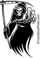 nero, morte, mostro, con, falce