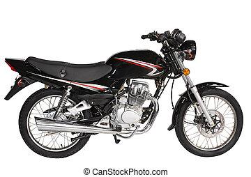 nero, motocicletta, sopra, sfondo bianco