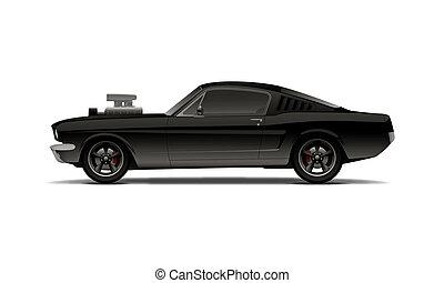 nero, muscolo, automobile, con, supercharger