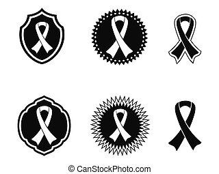 nero, nastri, consapevolezza, tesserati magnetici