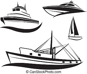 nero, nave, barca, set, vettore