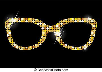nero, occhiali, fondo, dorato
