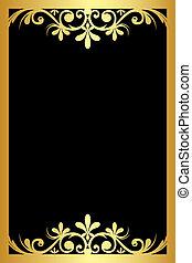 nero, ornamento, fondo, oro