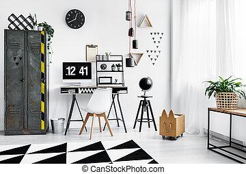 nero, orologio, su, parete