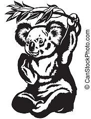 nero, orso koala, bianco