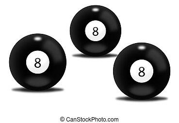 nero, palle biliardo, numero otto