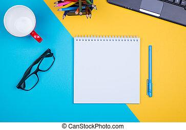 nero, penna, blocco note, vuoto