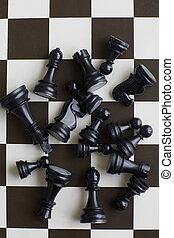 nero, pezzi gioco scacchi