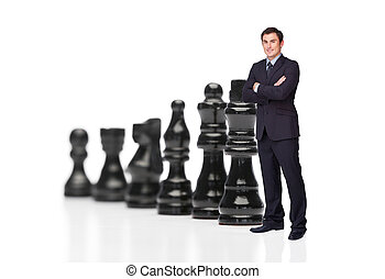 nero, pezzi gioco scacchi, uomo affari, fronte