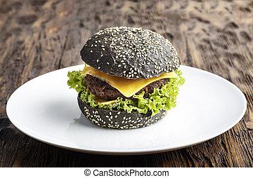 nero, piastra, hamburger