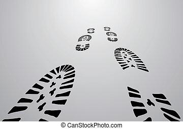 nero, piedi, tracce