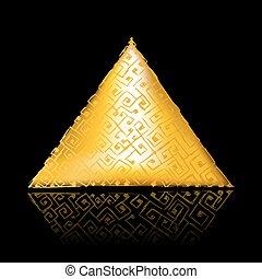 nero, piramide, dorato