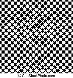 nero, puzzle, bianco, pattern., seamless