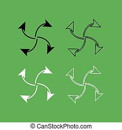 nero, quattro, cappio, icona, set, frecce, centro, bianco, colorare