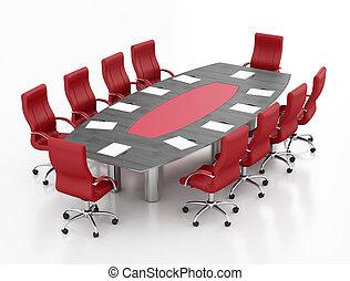 nero, riunione, tavola rossa
