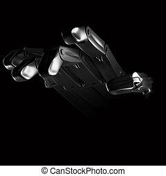 nero, robot, fondo, mano