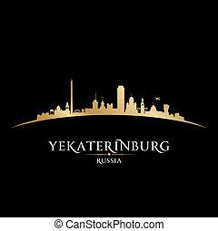 nero, russia, fondo, orizzonte, yekaterinburg, città, silhouette