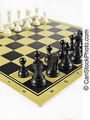 nero, scacchi, figure, bianco, apertura