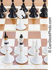 nero, scacchi, fronte, cavaliere bianco