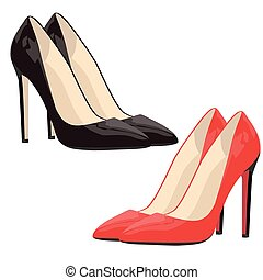 nero, scarpe, rosso