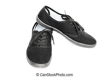 nero, scarpe tennis, isolato, bianco