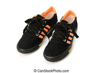 nero, scarpe tennis, isolato, bianco, fondo