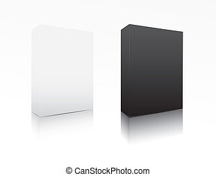 nero, scatola, software, bianco