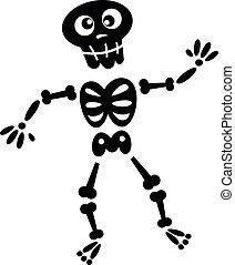 nero, scheletro, isolato, silhouette, bianco