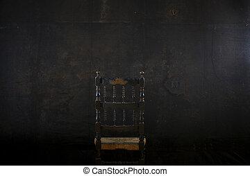 nero, sedia, parete