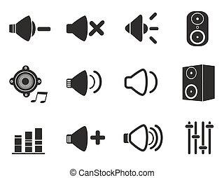 nero, set, altoparlante, icone