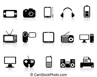 nero, set, elettronico, oggetti, icone