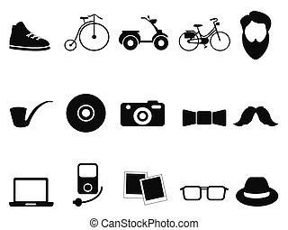 nero, set, hipster, icone