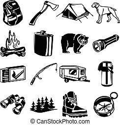 nero, set, icona, vettore, campeggio