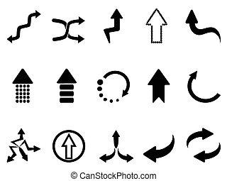 nero, set, icone, freccia