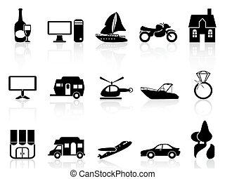 nero, set, icone, proprietà